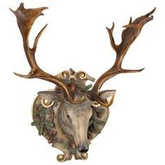 Hand-Carved Fallow Deer with Antique Habsburg Antlers