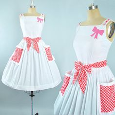 Vintage 50s Dress / 1950s White Cotton Belted Sundress Red