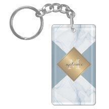 Abstract Blue & Smoke Colorblock Monogram Keychain