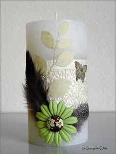 Des bougies décorées Home And Deco, Pillar Candles, Candle Holders, Vase, Diys, Home Decor, Decorated Candles, Center Table, Color