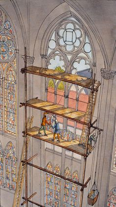 The making of a stained glass window in a French cathedral during the High Middle Ages by Jean-Claude Golvin Architecture Antique, Cathedral Architecture, Historical Architecture, Art And Architecture, Architecture Details, Medieval Life, Medieval Fantasy, Architecture Romane, Middle Ages
