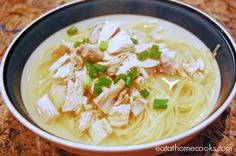 Vietnam Style Chicken Noodle Soup. No garlic sub spaghetti for rice noodles