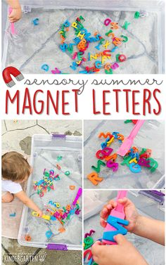 This summer make alphabet soup with magnetic letters, magnet wands, water and get ready for lots of fun and exploration! This is the perfect outdoor activity for summer tot school, preschool, or kindergarten!