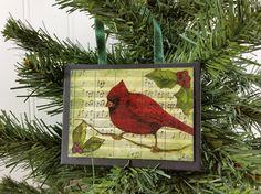 Red Cardinal Ornament, Winter Wild Bird on Branch Handmade Christmas Decor by #NaturesWalkStudio on Etsy