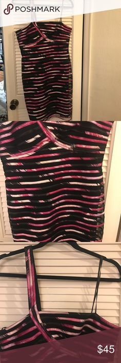 One strap Jessica Simpson Collections Size 12 Reposhing.  I'm obsessed with this amazing dress, but sadly doesn't fit.  It is so beautiful! Black, white, and shades of pink.  Black dress with overlay.  Don't miss out on this beauty! JS Collections Dresses