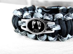 Personalized Paracord Survival Bracelet- Your Child's ACTUAL Footprints w/ Initials Pendant Bracelet- Father's Day, Christmas for Dad on Etsy, $25.00