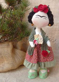 Frida - I love this Fabric Dolls, Paper Dolls, Rag Dolls, Felt Crafts, Fabric Crafts, Natalie Clifford Barney, Sewing Dolls, Waldorf Dolls, Soft Dolls