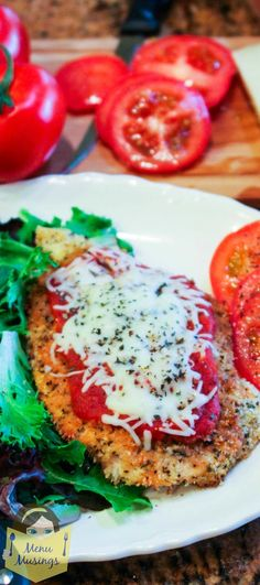 Baked Chicken Parmesan – Everyone's favorite Italian dish is calling your name for a quick and easy weeknight meal (but fancy enough for company)!  The super easy chicken is baked to make it lighter and healthier for your family; and it is oh so tender and flavorful!  Step-by-step photos! <3