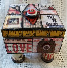 wooden ruler and cotton reel feet Cigar Box Projects, Cigar Box Crafts, Craft Projects, Altered Cigar Boxes, Altered Tins, Altered Art, Crafts To Do, Paper Crafts, Diy Crafts