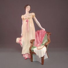 Emma LE Royal Doulton Figurine  This Royal Doulton figurine was designed by P. Parsons and is 8.25 inches or 21 cm in height. Emma was commissioned by Lawleys By Post and issued in 1997 in a limited edition of 3500 as part of the Literary Heroines series. Her dress is light yellow with a red bow.