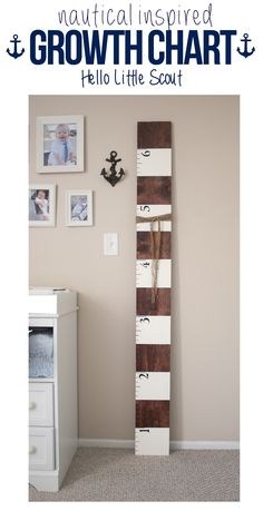 Nautical inspired growth chart. Such a fun way to keep track of their milestones! // Hello Little Scout