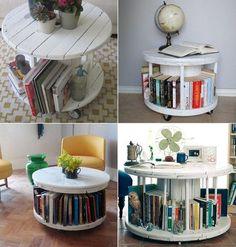 faire des meubles avec des palettes en bois : touret en bois recyclé transformé en table d'appoint