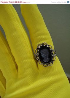ICE ICE SALE Vintage 1960s Cameo Statement Ring by bycinbyhand,