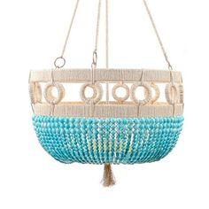 Beaded chandelier with circular accents Hemp wrapped Brass hardware Hard wired (3′ of chain and canopy included)  Show in Turquoise Swirl w/ Brass Hardware  Call to inquire about other bead selections