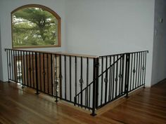 Wrought Iron Railing With Twisted Bars & Birds Nest Balusters& Powder picture Built Ins, Banisters, Home Organization, Windows And Doors, House Design, Banister Baby Gate, Open Floor Plan, Iron Railing, Home Decor
