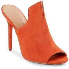 Halston Heritage Notched Suede Mules ($100) ❤ liked on Polyvore featuring shoes, orange, orange shoes, suede mules, halston heritage shoes, open toe mules and suede leather shoes
