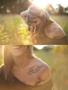 Beautiful Shoulder Tattoo with Beautiful Verse