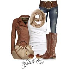 Brown leather and white shirt