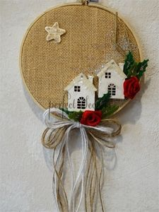Picture of Διακοσμητικό τελαράκι-καδράκι Easy Christmas Ornaments, Christmas Crafts To Sell, Felt Christmas, Handmade Christmas, Christmas Wreaths, Christmas Decorations, Burlap Crafts, Theme Noel, Diy Weihnachten