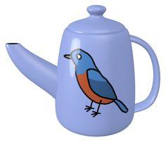 Blue Rock Thrush Teapot / #Tableware #Bird #Animal #イソヒヨドリ
