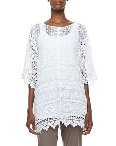 Morocco Crochet Easy Tunic, Black - XCVI