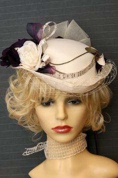 Inspired by steampunk cream 'upcycled' hat with vintage sheet music by maisondecantern.co.uk