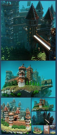 Floating Minecraft Island Castle [Collage made with one click using http://pagecollage.com] #pagecollage
