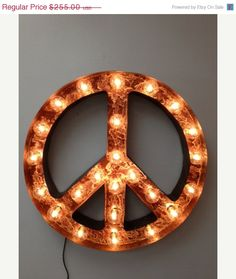 ON SALE for Valentines Peace sign lighted metal marble rust finish light fixture on Etsy, $229.50