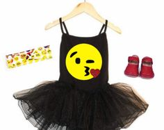 Emoji, Emoji Birthday Outfit, Emoji Birthday, Birthday Tutu Dress, Girls Black Leotard Tutu Dress, Birthday Outfit, Emoji Birthday Shirt