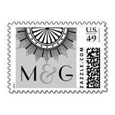 Art Deco Wedding Postage Postage Stamps