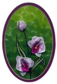 "Moth Orchid - #2625  Worked on a shaded green hand dyed China silk background, this white and pink moth orchid is very showy.  The orchid petals are stitched on fused silk with Rajmahal art silk. Embroidery floss or silk floss could also be used.  Leaves and stems are stitched with Brazilian embroidery threads.  Fits 5"" x 7"" mat or frame.     $15.00"