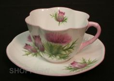 Antique Vintage Shelley Thistle Teacup Tea Cup and Saucer