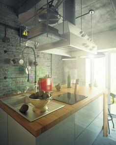 Casual Loft Apartment Design Ideas with Groovy Look: Industrial decoration style on neoteric kitchen design with fabulous white chimney mixed by wooden kitchen countertop also chrome washbasin with exceptional faucet
