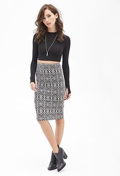 Abstract Brocade Print Skirt | FOREVER21 - 2000083537