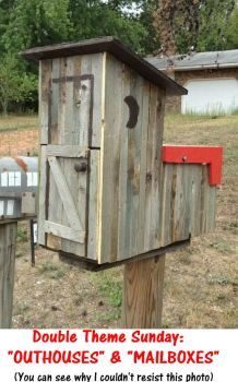 My outhouse mailbox Country Mailbox, Rural Mailbox, Diy Mailbox, Mailbox Decals, Mailbox Stand, Wooden Mailbox, Funny Mailboxes, Unique Mailboxes, Painted Mailboxes