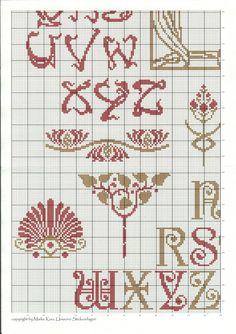 Art Nouveau Sampler by Unisono of Cross Stitch Letters, Cross Stitch Art, Cross Stitch Samplers, Cross Stitch Designs, Cross Stitching, Cross Stitch Embroidery, Needlepoint Patterns, Embroidery Patterns, Stitch Patterns
