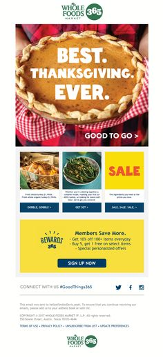 Whole Foods Market 365 sent this email with the subject line: Thanksgiving Got You Stressed? Not Anymore with 365 - Read about this email and find more holiday emails at ReallyGoodEmails.com #food #thanksgiving #holiday