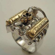 "The V8 Hot Rod Engine Ring- (ok, not from ""real"" parts.)"