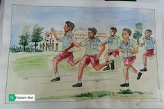 Running race Simple Paintings, Scenery Paintings, Watercolor Landscape Paintings, Watercolor Paintings, Oil Pastel Art, Pastel Drawing, Elementary Drawing, Composition Painting, Human Sketch