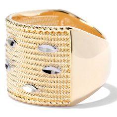 Antalia™ Turkish Jewelry 18K Gold Embraced™ Bead Textured Wide Band Ring evine.com wickerwork fish  elegant gold ring