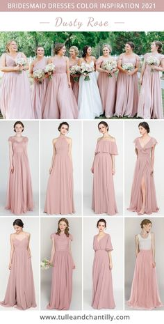 Wedding color inspiration with mismatched dusty rose bridesmaid dresses on budget Rose Bridesmaid Dresses, Wedding Dresses, Vestido Rose Gold, Wedding Colors, Wedding Styles, Wedding Venue Inspiration, Wedding Ideas, Dusty Rose Wedding, Space Wedding