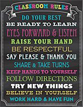 Chalkboard Brights Classroom Rules Chart --> teachercreated.com