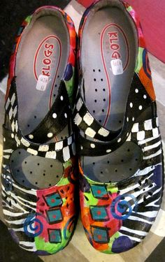 Hand painted shoes by Monapaints on etsy.  Cute!