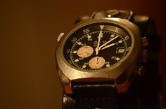 Alpina Seastrong Chronograph from the 1970's with Lemania Caliber. Swiss watchmaking history.