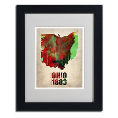 "Trademark Art ""Ohio Watercolor Map"" by Naxart Framed Graphic Art Size: H x W x D, Frame Color: Brown Canvas Frame, Canvas Wall Art, Canvas Prints, Canvas Size, Framed Maps, Framed Wall Art, Painting Frames, Painting Prints, Art Print"