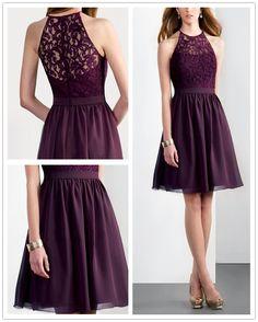 Illusion Halter Neck & A-Line Skirt Violet Bridesmaid Dress