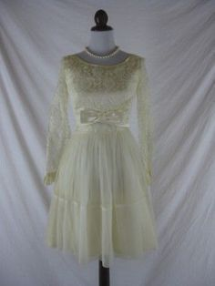 Vtg-50s-60s-Ivory-Chiffon-Womens-Vintage-Lace-Party-Cocktail-Wedding-Dress-W-26