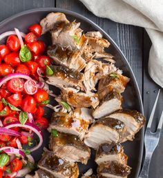 -*+A sweet balsamic glaze does double duty here — basting the tender slow-cooked pork, and dressing the tangy salad. It makes a big batch, so you can freeze some. Enjoy this on all phases!