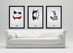 "The Dark Knight Rises 12""x18' matte - Custom minimalistic poster series set - Batman, Joker, Bane"