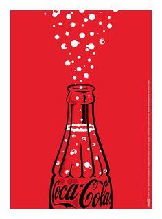 Kiss The Past Hello. Coca-Cola Design: 100 Years of the Coca-Cola Bottle. by: Dress Code Pepsi, Coke, Coca Cola Poster, Illustrator, Coca Cola Bottles, Budget Template, Red Aesthetic, Designer, Graphic Design